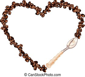 Heart frame shaped coffee beans with spoon