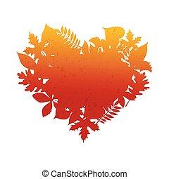 Heart frame, texture. Autumn, Thanksgiving