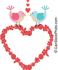 Heart frame with cute birds