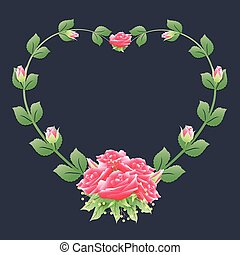 Heart frame with rose ivy and roses bouquet