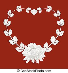 Heart frame with rose ivy and roses bouquet on red background, paper art style illustration