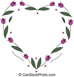 Heart frame with tulip flowers on a white background. Vector image for your design, greeting cards, save the date