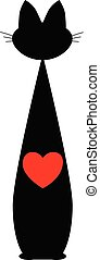 heart., freigestellt, katz, schwarz, vector., rotes