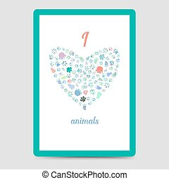 Heart from animal footprints card
