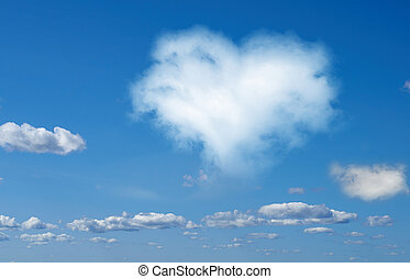 Heart from cloud in the blue sky