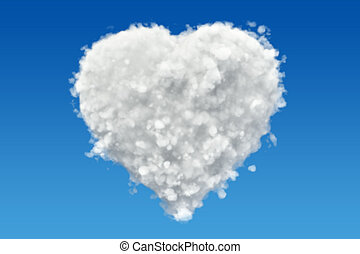 Heart from clouds in the sky, 3D rendering