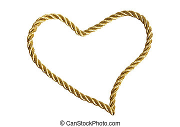 Heart from golden thread isolated on a white background