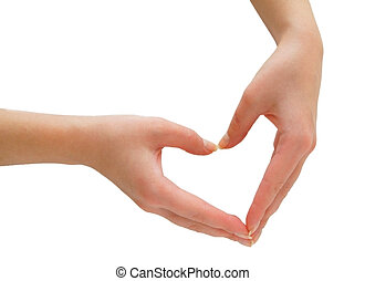 Heart from hands. On a white background.
