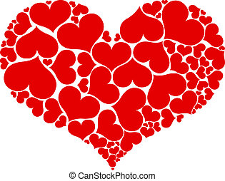 Big heart shape comprised by smaller ones isolated on white background.
