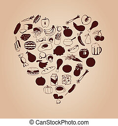 Heart from meal - Set of meal in the form of heart. A vector...