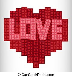 Heart from plastic bricks on a white background. Red. Lego Heart Designer