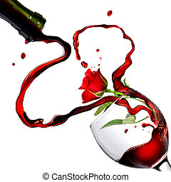 Heart from pouring red wine in goblet with red rose isolated...