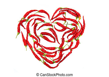 heart from red chilli pepper