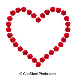 Heart from red rose buds isolated on white
