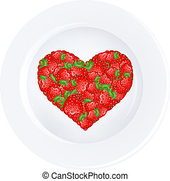 Heart From Strawberry On Plate