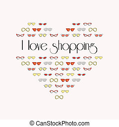 I love shopping, heart from stylish fashion sunglasses, shopping madness, vector use ..for banner, poster or background