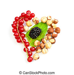 heart from the berries on a white background