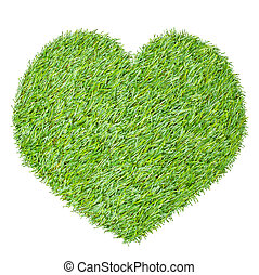 heart from the green grass, isolated on white