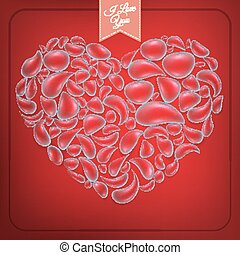 Heart from water drops on red background. EPS 10