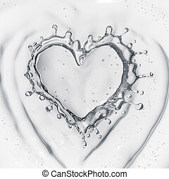 Heart from water splash with bubbles isolated on white...