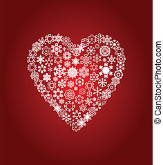 Heart from white snowflakes on a red background. A vector illustration