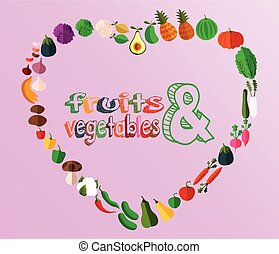 Heart  fruits and vegetables
