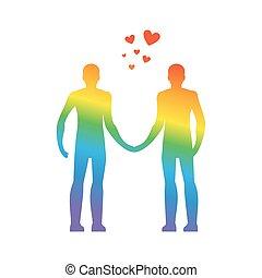 heart., gay, forever., love., ensemble, lgbt, vecteur, illustration, prise, types, hands.