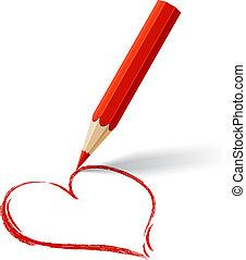 heart., gefärbt, vektor, hintergrund, gezeichnet, pencil.