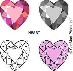 Heart gem cut - Low poly colored & black outline template...