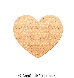 heart., gesso, remendo, faixa, vetorial, faixa, ajuda, médico