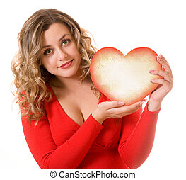 heart gift in the hands of a pretty girl
