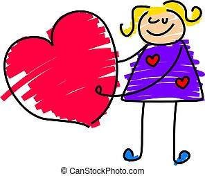 little girl holding giant heart - toddler art