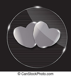 Heart glass Button vector illustration