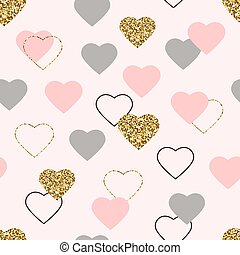 Heart glitter seamless pattern. Valentines Day background with glittering gold, pink, grey hearts. Golden hearts with sparkles and star dust. Wallpaper design with symbol of love. Vector illustration