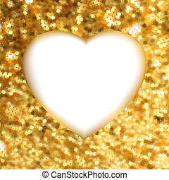 heart., gold, rahmen, eps, form, 8