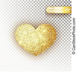 Heart golden glitter isoleted on transparent background. Gold sparkles heart. Valentine Day symbol. Love concept design. Vector illustration 10 eps