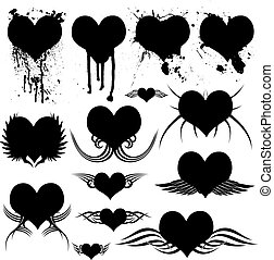 heart gothic - Illustration of many heart shapes with gothic...