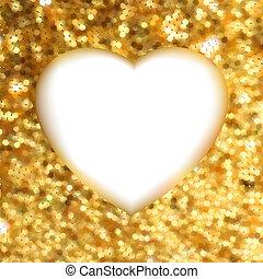 heart., guld, ramme, eps, facon, 8