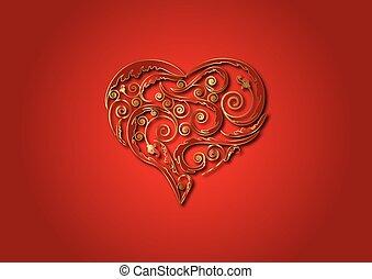 heart., guld, utsirad