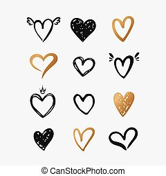 Heart hand drawn shapes isolated on white. Vector set.