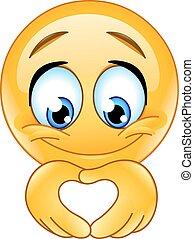 Heart hand emoticon