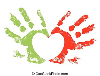 Heart Hand Prints - Abstract Colored Grunge Hand Prints with...