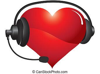 heart headphones - heart with headphones on a white ...