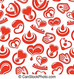 Heart health and blood vector seamless pattern