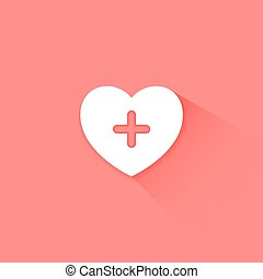 Heart health care red icon