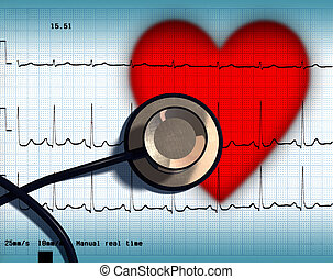 Heart health - Stethoscope and ECG over a stylized hearth....