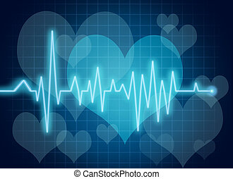 Heart health symbol with blue EKG - Electrocardiogram chart with grid lines representing medical healthcare for the human cardiovascular sysyem.