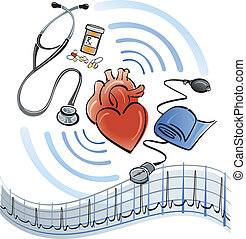 Human heart surrounded by a stethoscope, medicine, blood pressure meter and EKG graph.