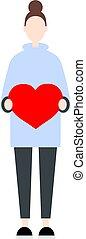heart., hembra, valentines, carácter, bollo de pelo, santo,...