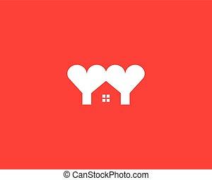 Heart house logotype. Love home logo vector symbol.